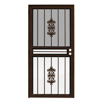36 in. x 80 in. Rambling Rose Copperclad Recessed Mount All Season Security Door with Insect Screen and Glass Inserts
