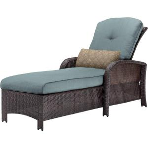 corolla wicker outdoor chaise lounge with blue cushions