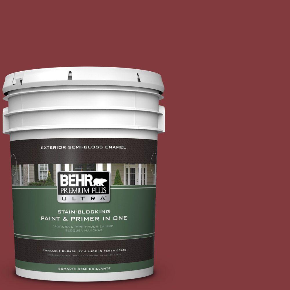 BEHR Premium Plus Ultra 5-gal. #S-H-130 Red Red Wine Semi-Gloss Enamel Exterior Paint