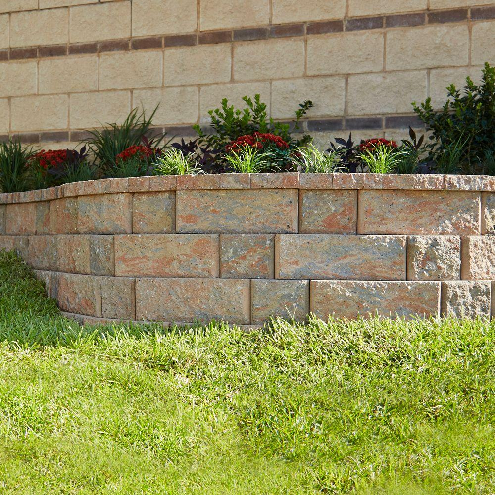 Pavestone RockWall Small 4 in  x 11 75 in  x 6 75 in  Palomino Concrete  Retaining Wall Block
