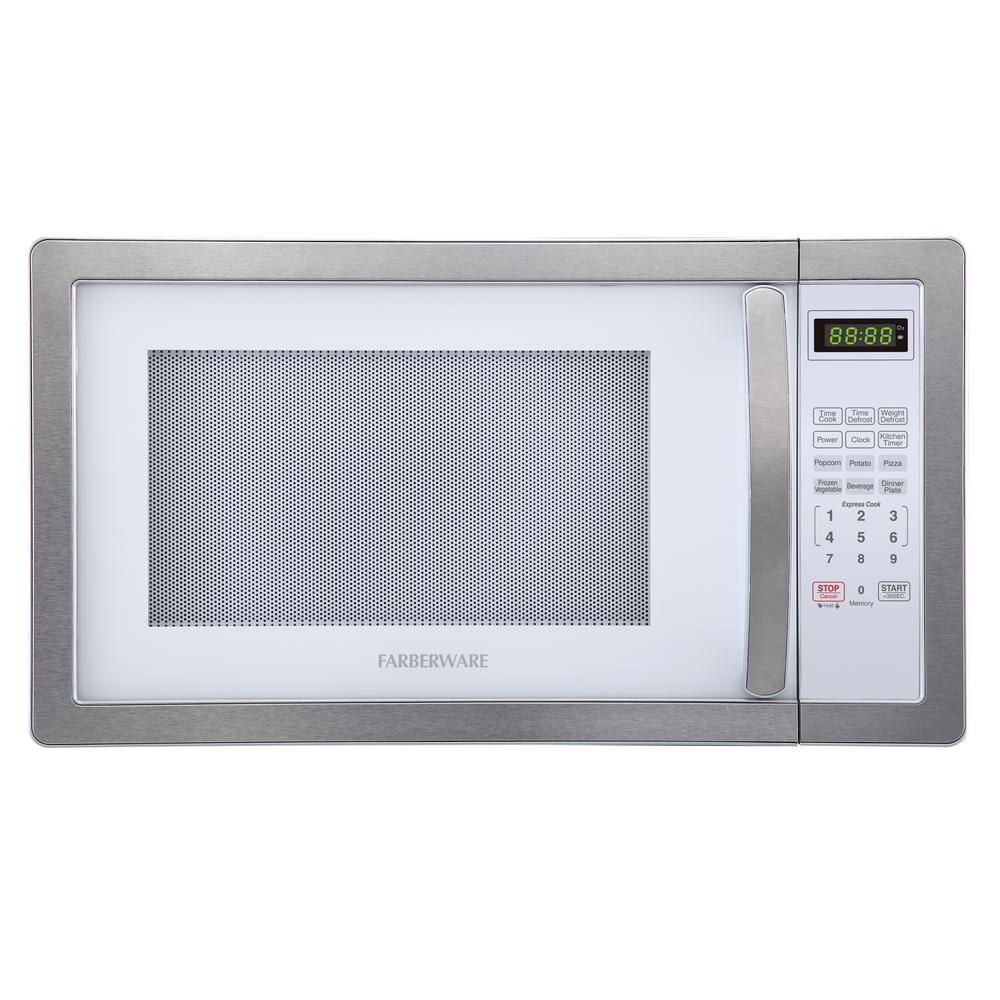 Classic 1.1 cu. ft. 1000-Watt Countertop Microwave Oven, White and Platinum