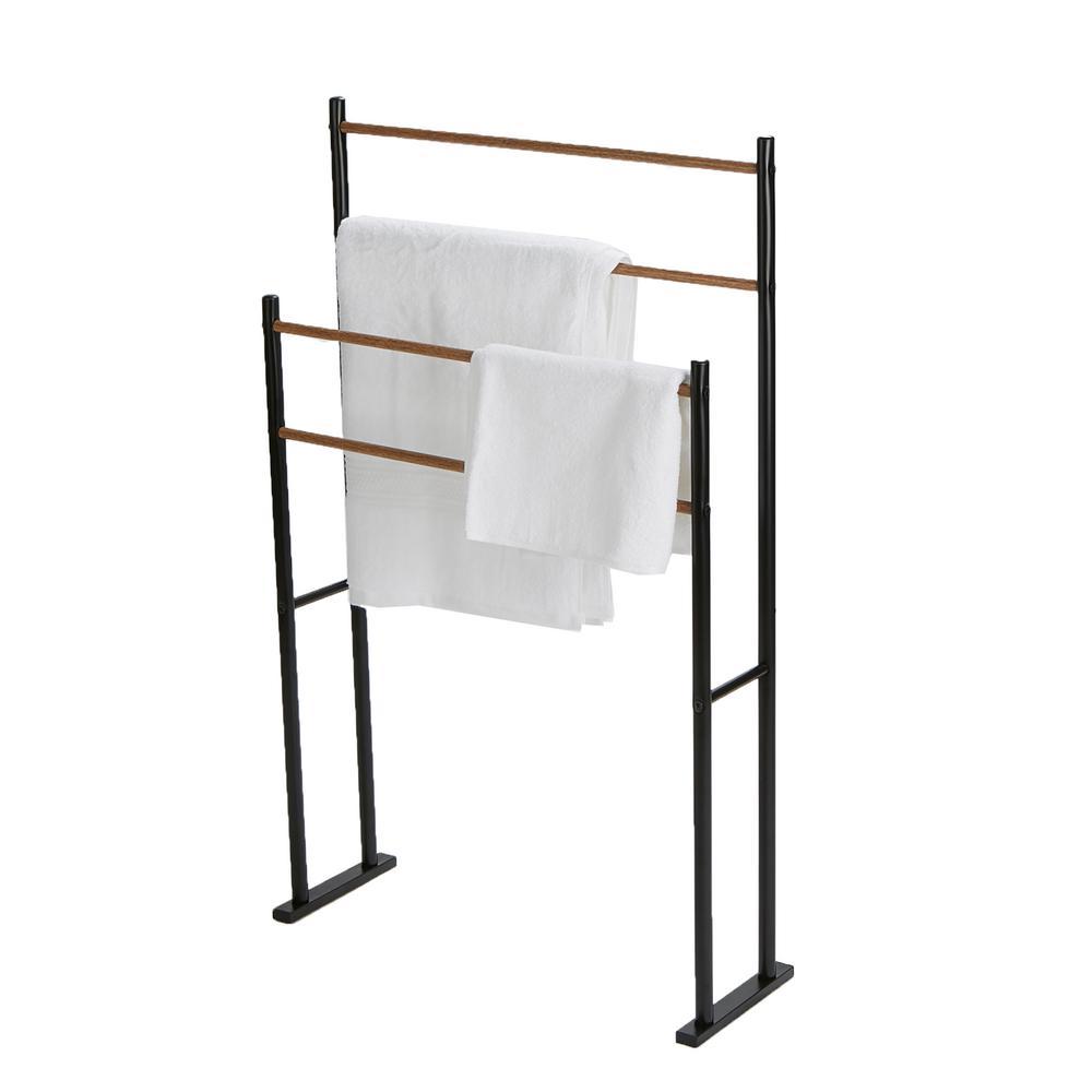 Mind Reader 4-Bars / 2-Tier Towel Rack in Black