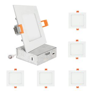 6 in. Square Color Selectable 5CCT New Construction or Remodel IC Rated Canless Integrated LED Recessed Light Kit White