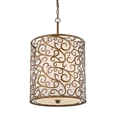 6-Light Burnished Gold Pendant with Light Beige Fabric Shade