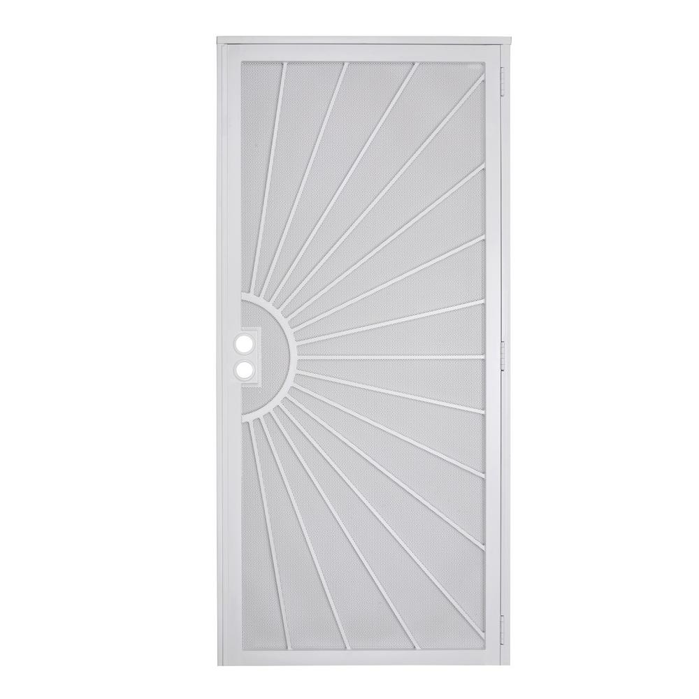 US Door and Fence 32 in. x 80 in. Nuevo Dia White Steel ...