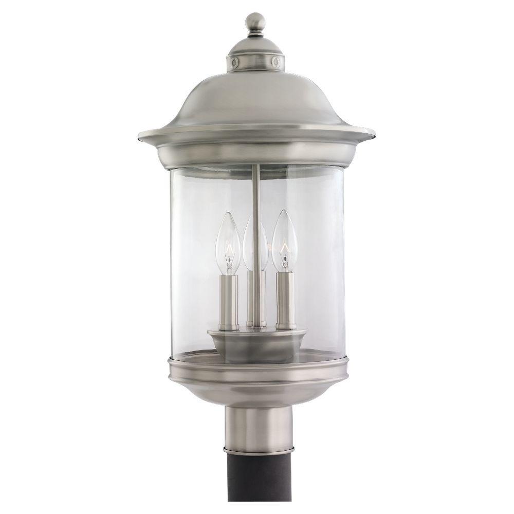 Sea Gull Lighting Hermitage 3-Light Outdoor Antique Brushed Nickel Post Top