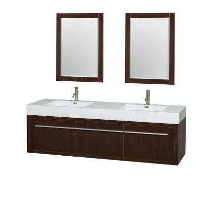 Axa 72 in. Double Vanity in Espresso with Acrylic Resin Vanity Top in White, Integrated Sinks and 24 in. Mirrors