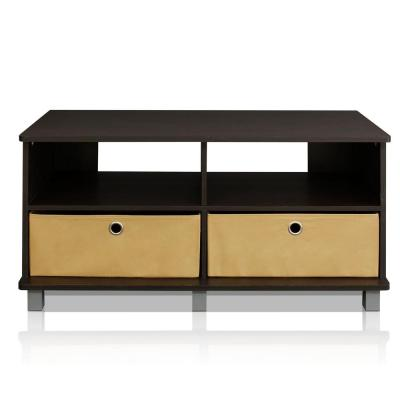 Home Living 38 in. Espresso Particle Board TV Stand Fits TVs Up to 40 in. with Cable Management