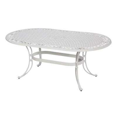Biscayne 72 in. x 42 in. White Oval Patio Dining Table