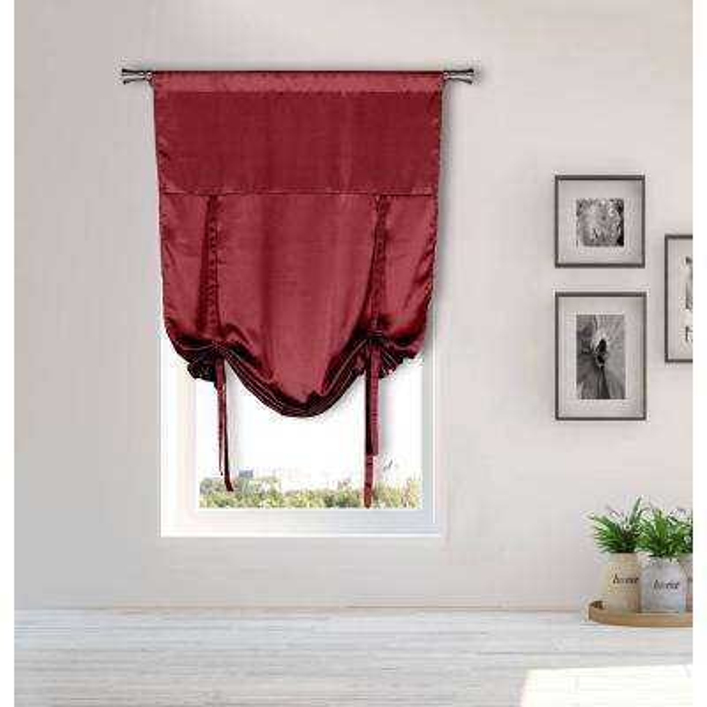 Irene Ruby Red Tie-up Room Darkening Curtain - 38 in. W x 63 in. L in (2-Piece)