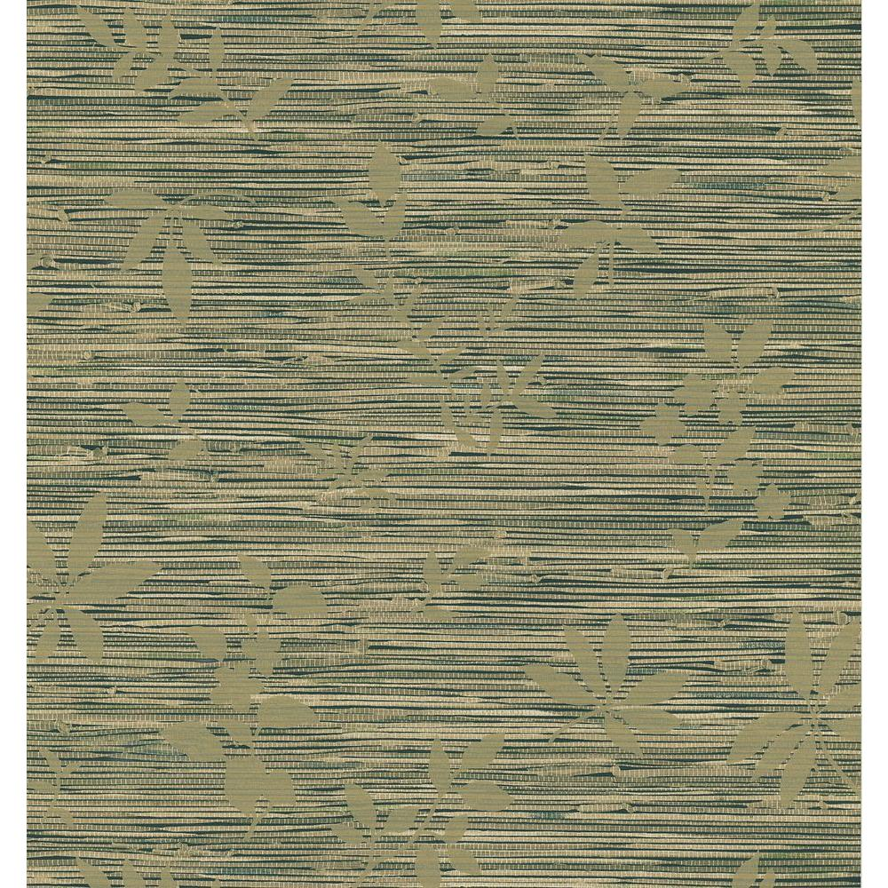 Brewster Faux Grasscloth Leaf Wallpaper