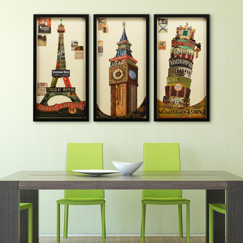 Empire Art Direct Eiffel Tower, Big ben, Leanin TowerDimensional Collage Framed Graphic Art Under Glass Wall Art, Multi-Colored was $450.0 now $315.0 (30.0% off)