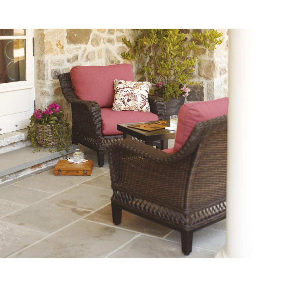 Hampton Bay Woodbury 3 Piece Wicker Outdoor Patio Seating Set With Chili Cushion