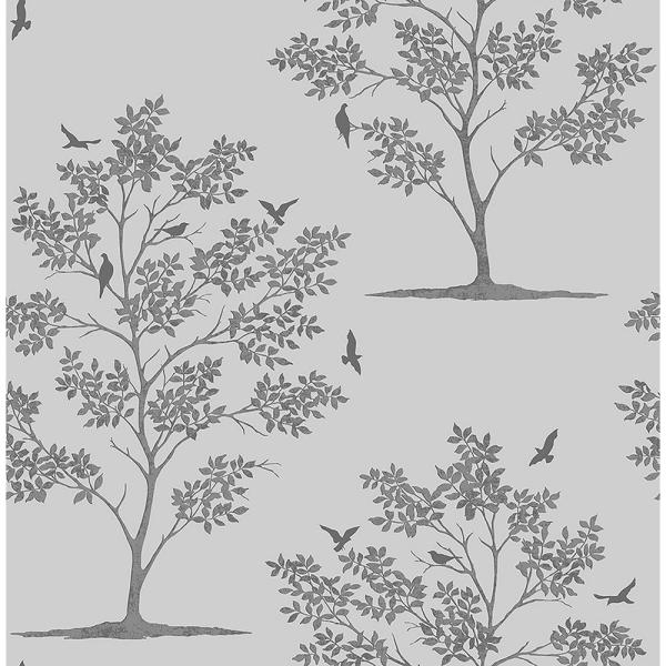Brewster Woodland Grey Trees and Birds Wallpaper Sample