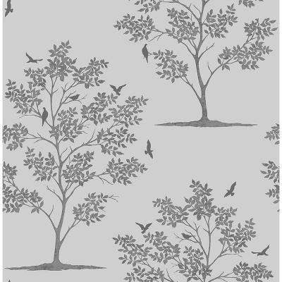 Woodland Grey Trees and Birds Wallpaper Sample