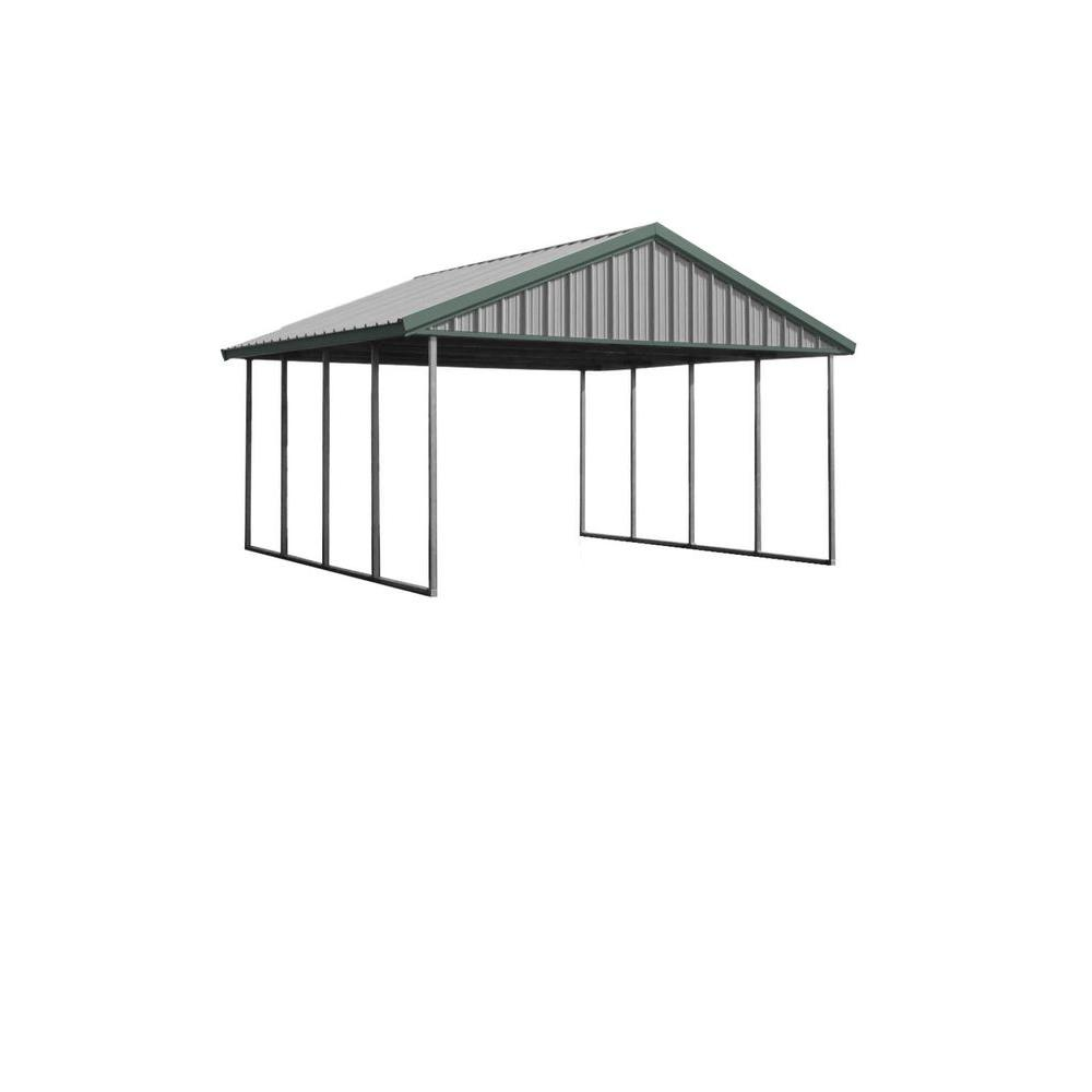 PWS Premium Canopy 16 ft. x 20 ft. Light Stone and Patina Green All Steel Structure with Durable Galvanized Frame