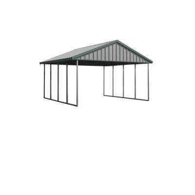 Premium Canopy 16 ft. x 20 ft. Light Stone and Patina Green All Steel Structure with Durable Galvanized Frame