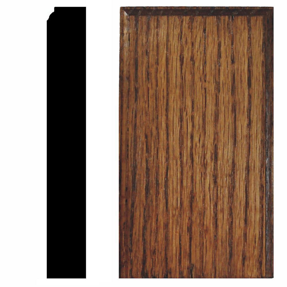 7/8 in. x 3-1/2 in. x 6 in. Oak Chestnut Stained Plinth Block Moulding
