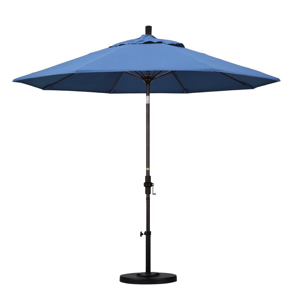 9 ft. Fiberglass Collar Tilt Patio Umbrella in Frost Blue Olefin