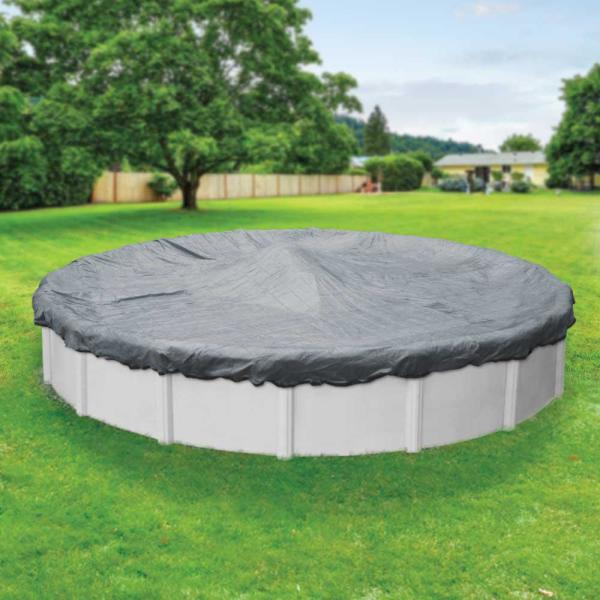 Dura-Guard Mesh 30 ft. Round Gray and Black Mesh Above Ground Winter Pool Cover