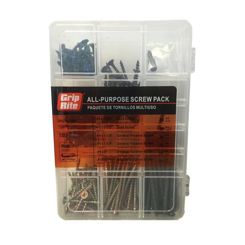 Grip-Rite Assorted Indoor Use Screw Pack (180-Piece)