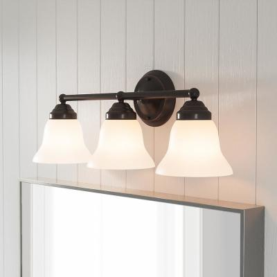 Ashhurst 3-Light Oil Rubbed Bronze Vanity Light with Frosted Glass Shades