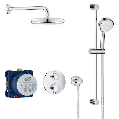 Grohtherm Cube 2-Spray Shower Set with Tempesta 210 in StarLight Chrome