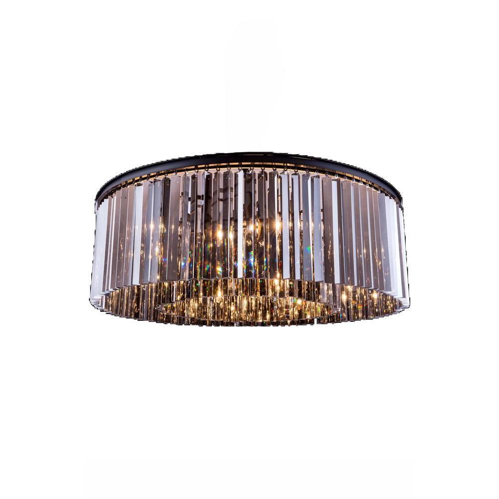 Sydney 10-Light Mocha Brown Flush Mount with Silver Shade (Grey) Crystal