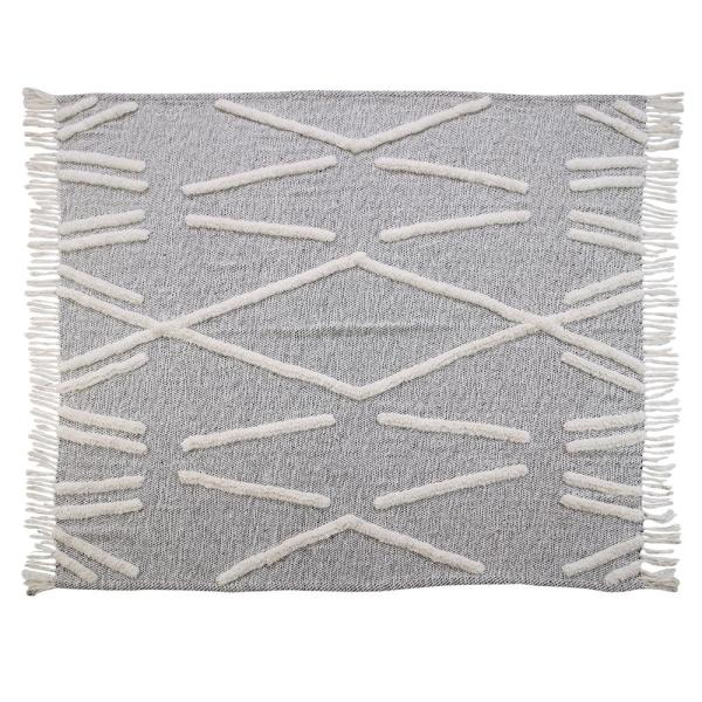 LR Resources Abstract Zigzag Black Melange Pure Cotton Decorative Throw Blanket
