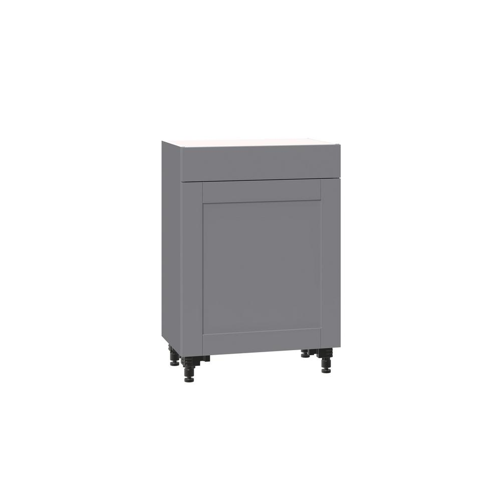 J COLLECTION Shaker Assembled 24x34.5x14 in. Shallow base cabinet with  metal drawer box in gray