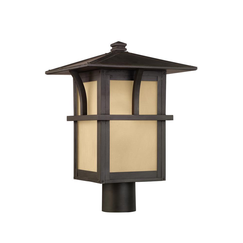 Medford Lakes 1-Light Outdoor Statuary Bronze Post Light with Bulb