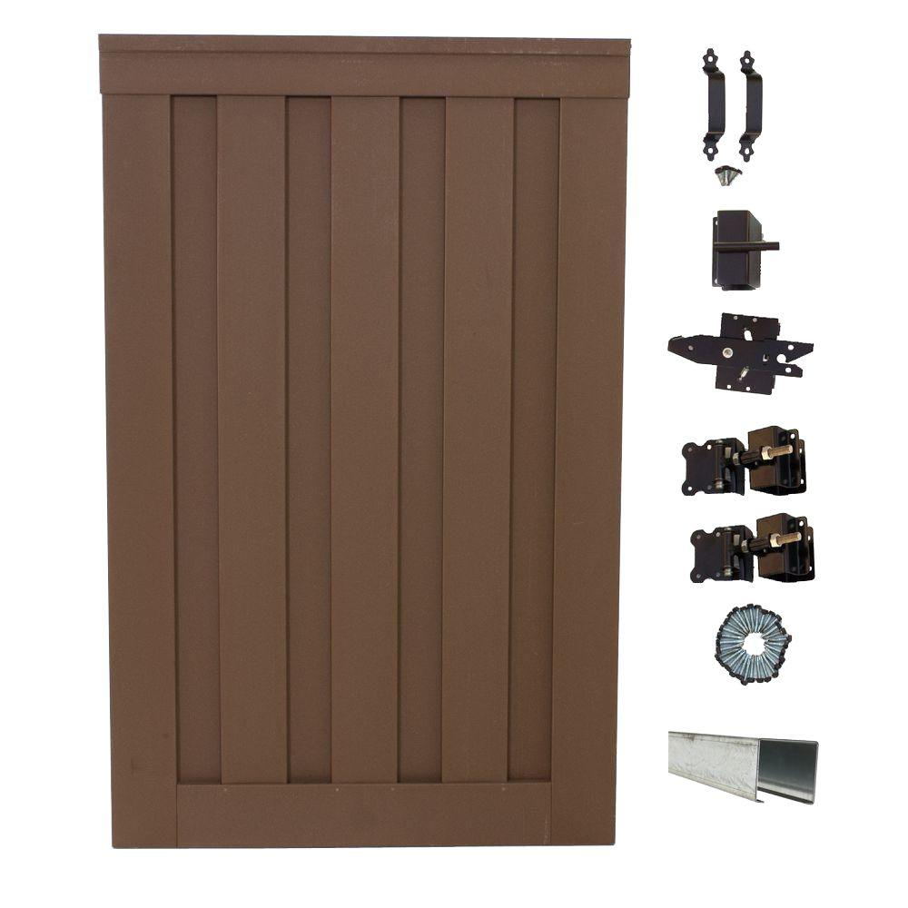 Trex Seclusions 4 ft. x 6 ft. Saddle Brown Wood-Plastic Composite Privacy Fence Single Gate with Hardware