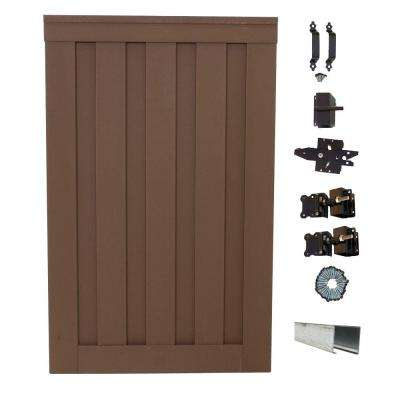 Seclusions 4 ft. x 6 ft. Saddle Brown Wood-Plastic Composite Privacy Fence Single Gate with Hardware