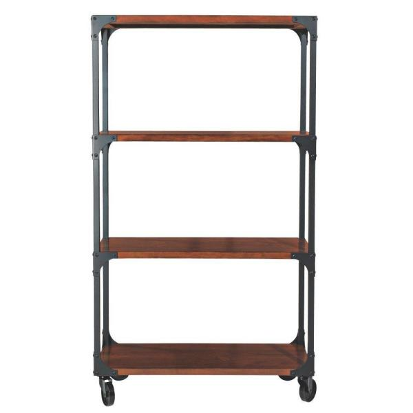62.75 in. Black/Brown Metal 3-shelf Etagere Bookcase with Open Back