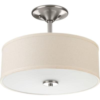Inspire Collection 13 in. 2-Light Brushed Nickel Bedroom Semi-Flush Mount