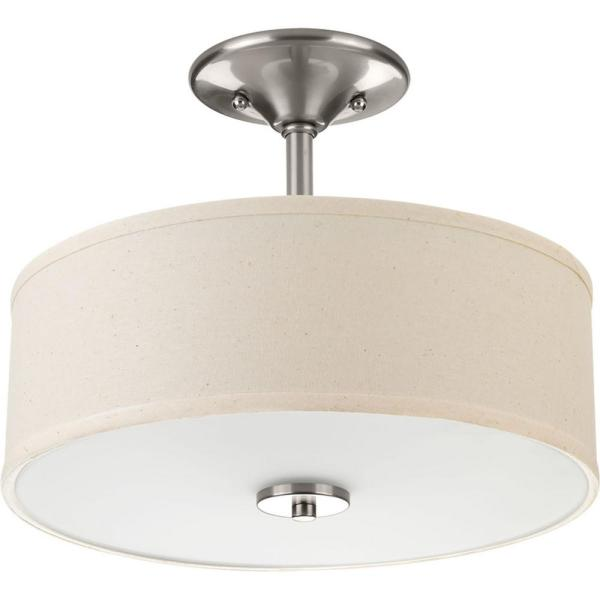 Inspire Collection 13 in. 2-Light Brushed NickelBedroomSemi-Flush Mount