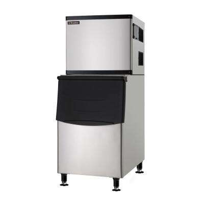350 lb. Freestanding Full Dice Ice Maker with Bin in Stainless steel