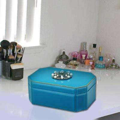 Organise Lovely Blue Precious Essentials Octagonal Glass Jewellery Box