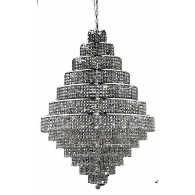 38-Light Chrome Chandelier with Silver Shade Grey Crystal