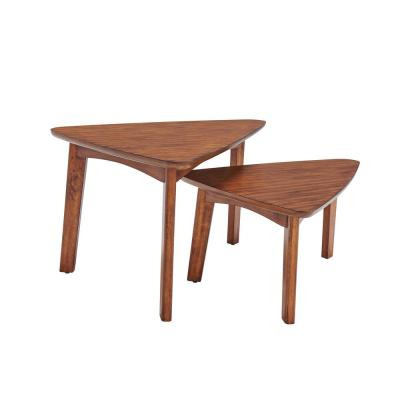 "Monterey 40""L Triangular Set of Two Mid-Century Modern Nesting Tables, Warm Chestnut"