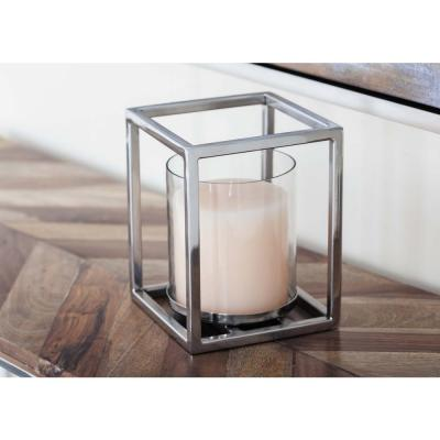 Litton Lane 7 in. Stainless Steel Glass Cuboid Candle Holder, Clear