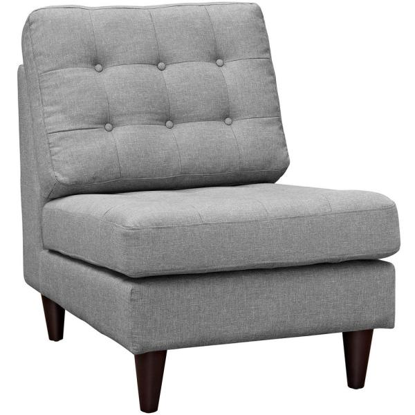 MODWAY Empress Light Gray Upholstered Lounge Chair