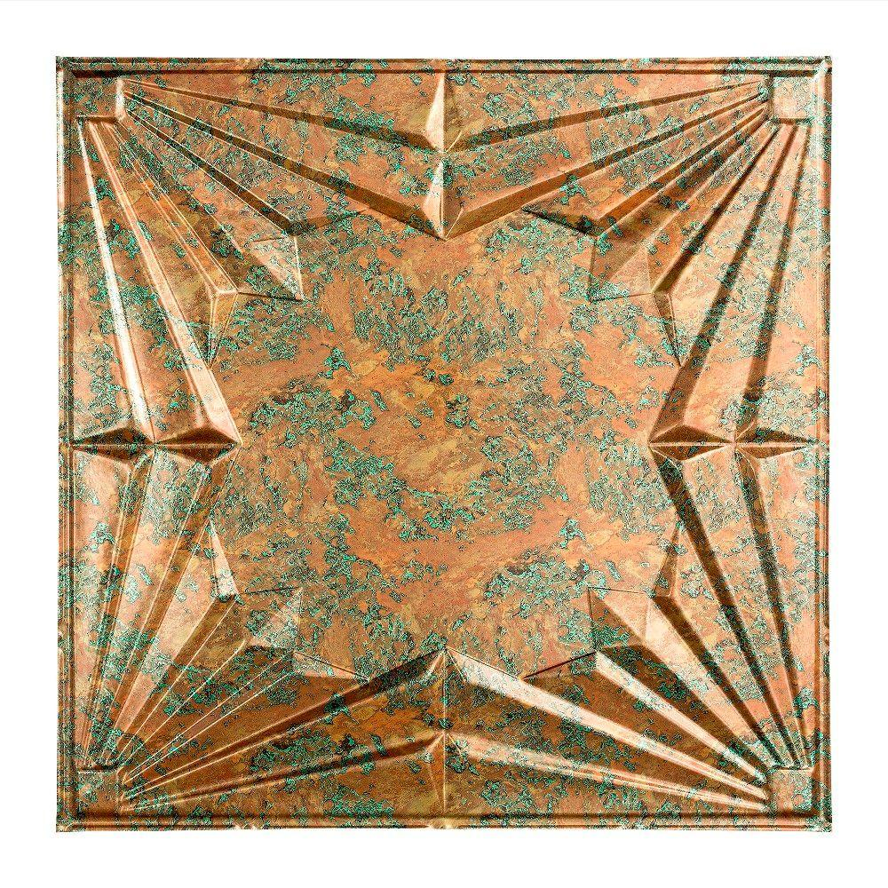 Fasade Art Deco 2 Ft X 2 Ft Copper Fantasy Lay In Vinyl Ceiling Tile 20 Sq Ft Pl5811 The Home Depot