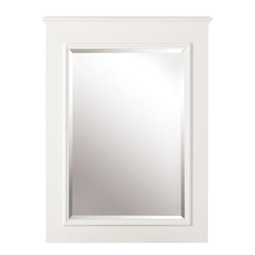 Home decorators collection belvedere 32 in h x 24 in w framed single mirror in white Home decorators collection mirrors