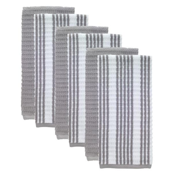 T-Fal Gray Solid and Stripe Waffle Cotton Terry Kitchen Dish Towel (Set of 6)