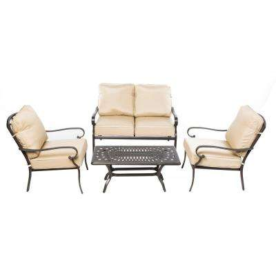 Newbury Beige 4-Piece Metal Cast Aluminum Seating Set with Table, Loveseat, and 2 Lounge Chairs with Tan Cushions