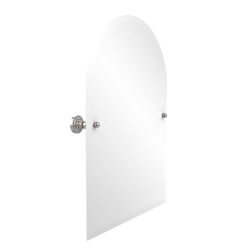 Allied Brass Dottingham Collection 21 in. x 29 in. Frameless Arched Top Single Tilt Mirror with Beveled Edge in Satin Nickel