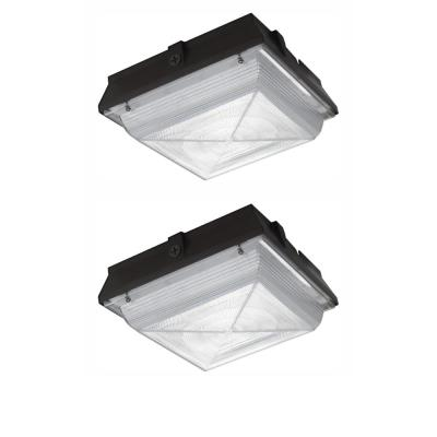 150-Watt Equivalent Integrated Outdoor LED Security Light, 2200 Lumens, Ceiling/Canopy Security Lighting (2-Pack)