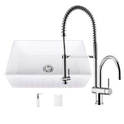 All-in-One Matte Stone Farmhouse 30 in. 0-Hole Kitchen Sink and Dresden Chrome Faucet Set