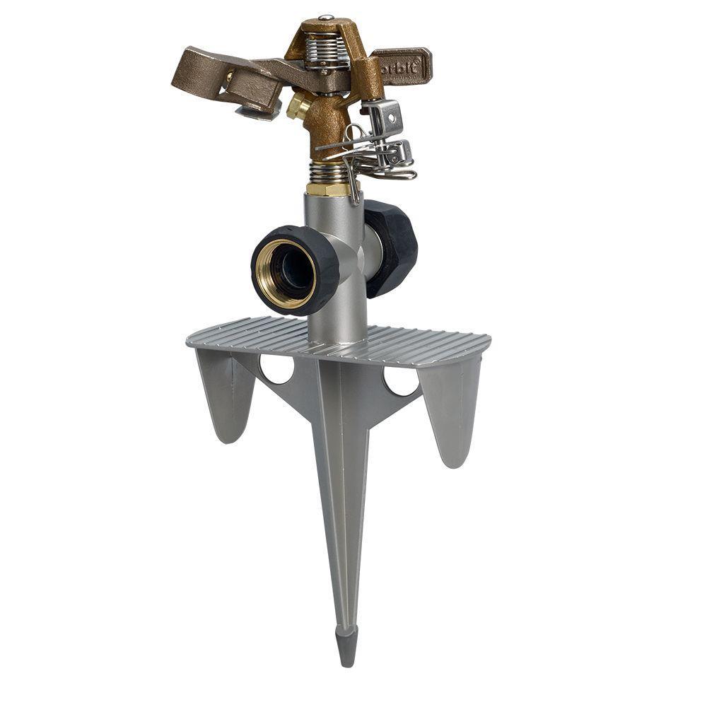 7,800 sq. ft. Brass Impact Sprinkler on Zinc Spike